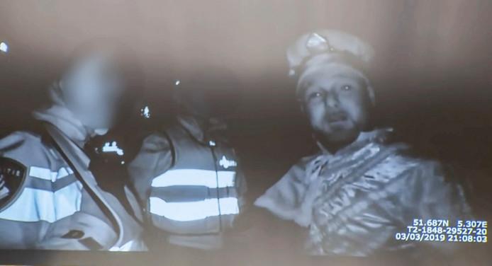 Marco Kroon tijdens zijn arrestatie bij het carnaval