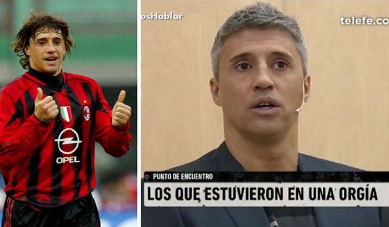 Links: Hernan Crespo als spits bij AC Milan. Rechts: in de tv-show 'El Destape'.