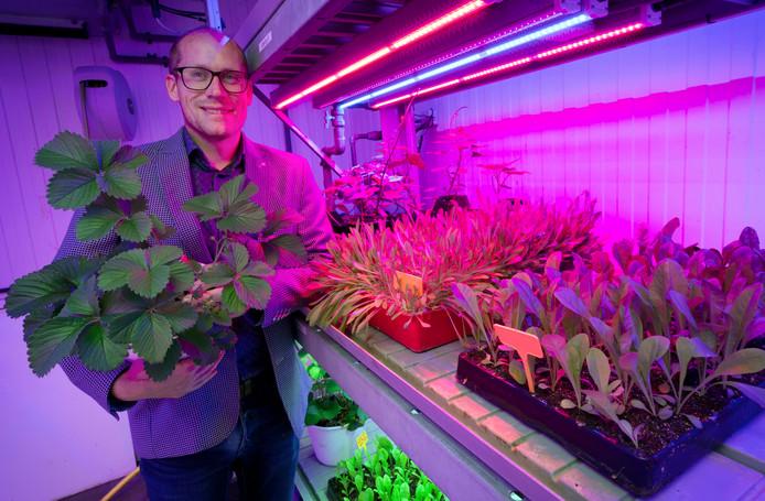 Afdelingsmanager Bob Schalken in een van de innovatieve kassen op het Prinsentuin College.