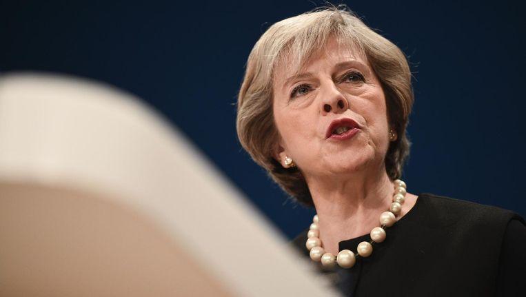 Theresa May spreekt tijdens de jaarlijkse conventie van de Conservatieve partij. Beeld afp