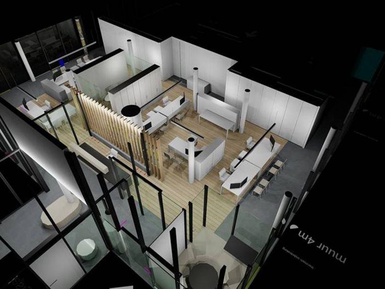 Enkele visualisaties van het nieuwe interieur van het gemeentehuis  — zicht op het nieuwe onthaalruimte met achterliggend burelen