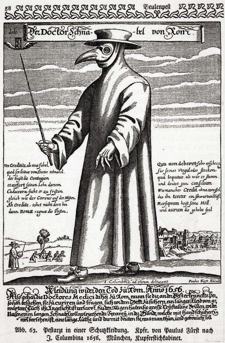 Een 17de-eeuwse illustratie van een arts in beschermende kleding tegen de pest.  Beeld Getty Images