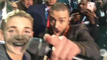 Jongen die selfie nam tijdens Super Bowl-concert Justin Timberlake is nu al een levende legende