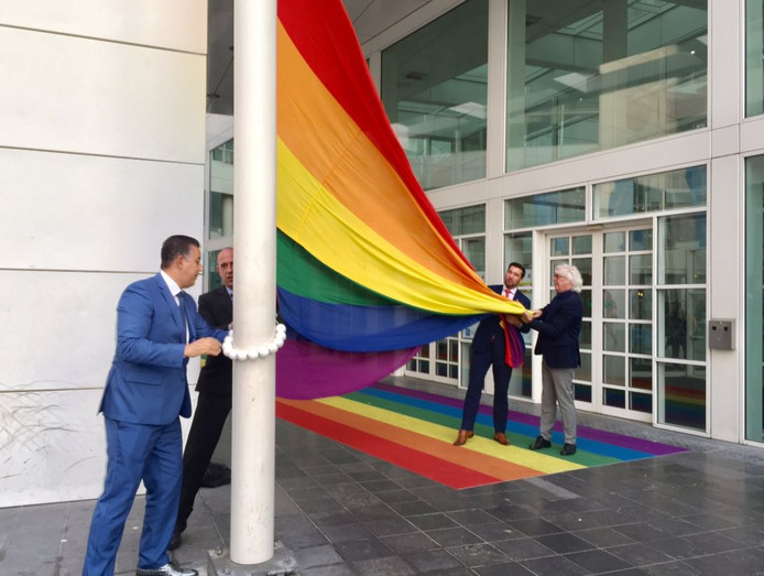 De regenboogvlag wordt gehesen bij het stadhuis in Den Haag.