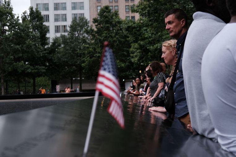 Het gedenkteken op de locatie van de voormalige WTC-torens.