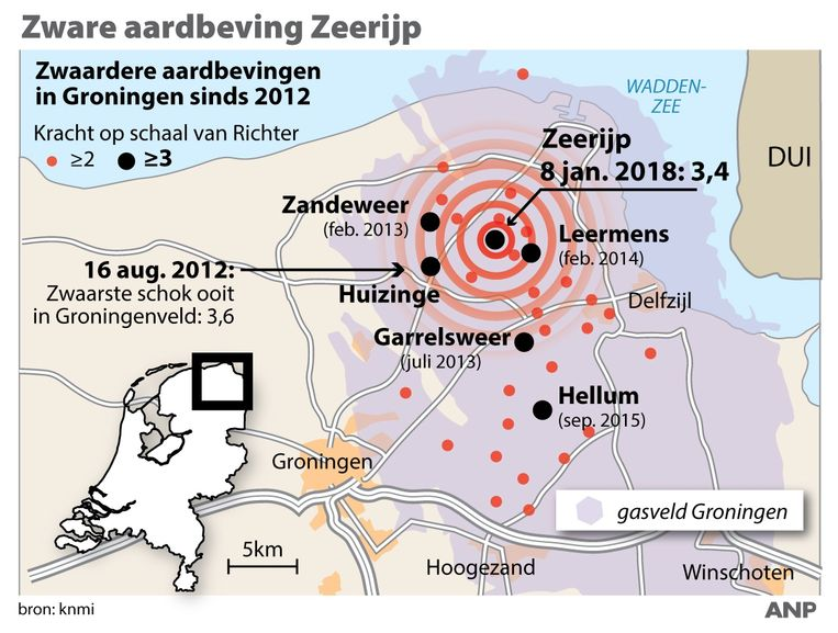2018-01-08 16:59:19 Zware aardbeving Zeerijp, overzicht zwaarste aardbevingen in gasveld Groningen sinds 2012. ANP INFOGRAPHICS