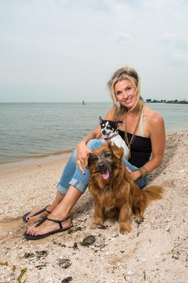Femke Pasquino met haar Big (bruin) en Tom. 'Ze hebben veel meegemaakt; leefden wild op het platteland of aan een ketting' Beeld Mats van Soolingen