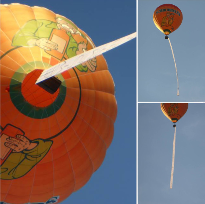 De luchtballon met huwelijksaanzoek van 'Tim'.