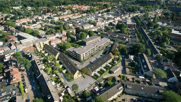 Het plan Hooghwerf in vogelvlucht met bovenaan de Hoogstraat en onderaan de Philips de Goedelaan.