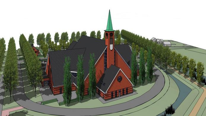Het ontwerp van de nieuw te bouwen kerk.