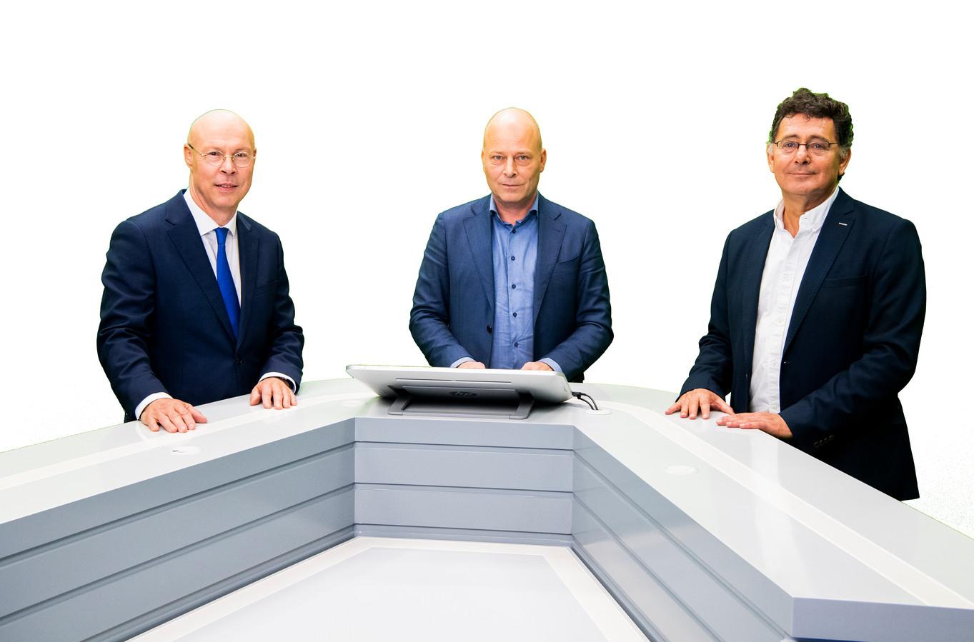 PME en PMT-bestuursvoorzitters Jos Brocken en Erik Uijen tijdens een webinar over dreigende kortingen op pensioenen. Bestuurders zitten klaar voor het beantwoorden van vragen van verontruste deelnemers van pensioenfondsen.