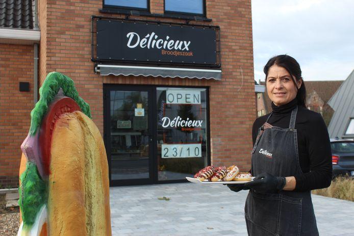 Peggy Pattyn voor haar broodjeszaak Délicieux.