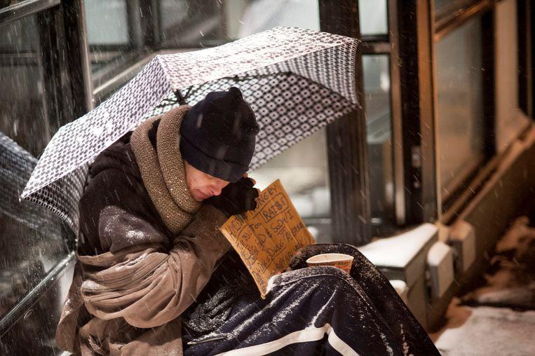 Een dakloze in New York.