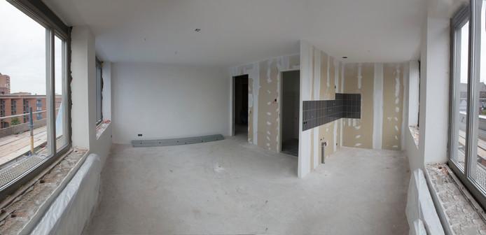 Een van de short stay-appartementen in aanbouw, in het oude GGZ-gebouw in Helmond