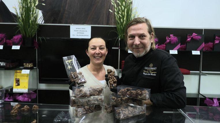 Nicolas Beugnies en Cindy Beunens van Beugnies Les Chocolats in Marke.