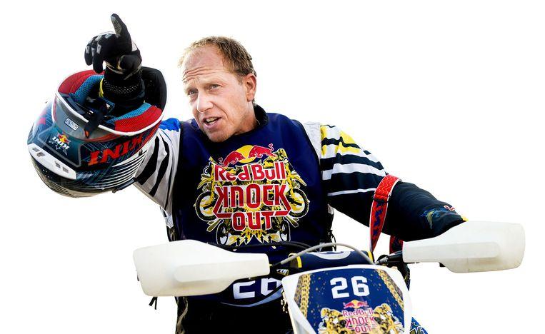 Rintje Ritsma tijdens de training voor de Red Bull Knock Out op het strand van Scheveningen. Beeld ANP