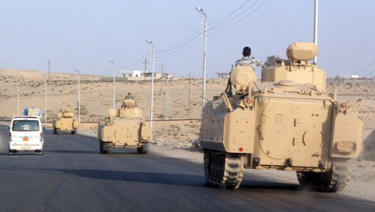 Het Egyptische leger greep begin deze week in bij Rafah, op de grens van Gaza, om militanten ervan te weerhouden gasleidingen naar Israël te beschadigen. Beeld afp