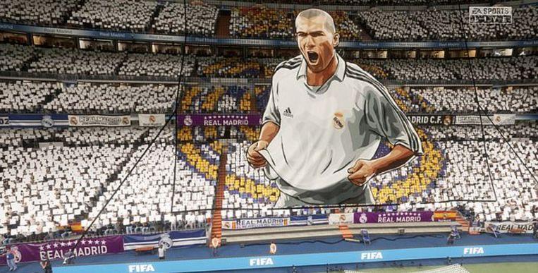 Een beeld van hoe het Bernabéu er mét fans en een tifo van Zidane uitziet in de videogame FIFA. Real zal echter thuis spelen in het Alfredo di Stefano-stadion.