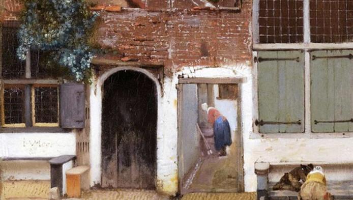 Detail van het Straatje van Vermeer met de focus op het linkerhuis.