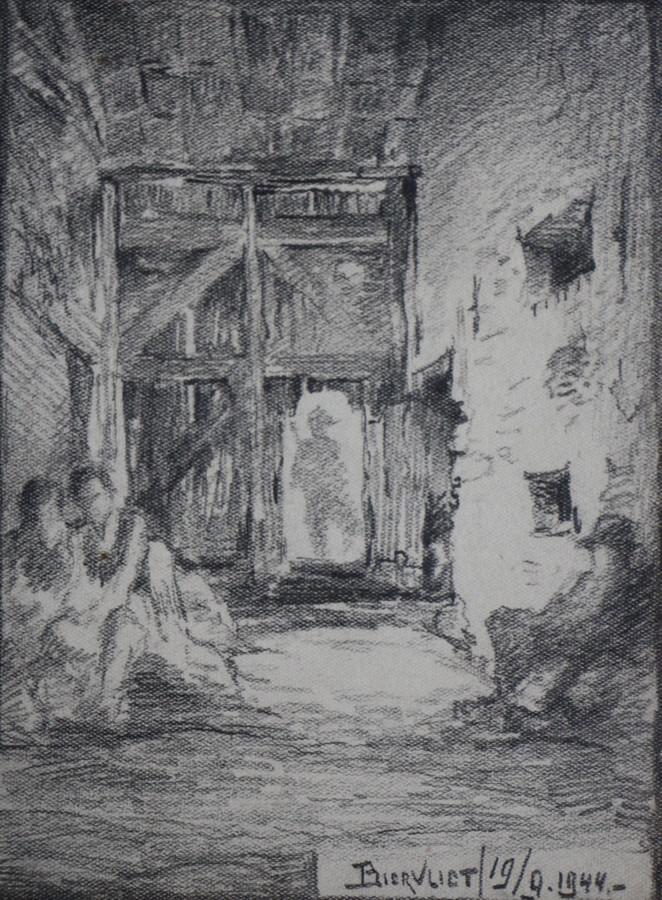 K.J. Huineman: Biervliet, 19 september 1944, potloodtekening. (In het deurgat een Duitse soldaat, rechts op een stoel L.F.J. M. Caspari en links zittend Johan van der Velde en Francien de Zeeuw.