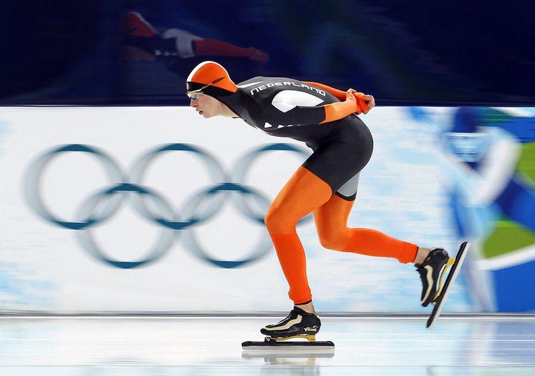 Sven Kramer in actie bij de Olympische Spelen van Vancouver, in 2010. Beeld anp