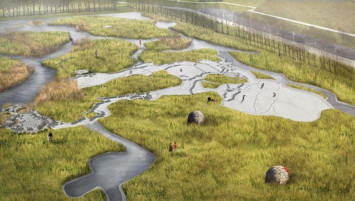 Het oorspronkelijke ambitieuzeplan voor de educatieve waterspeelplaats bij Fort de Roovere.