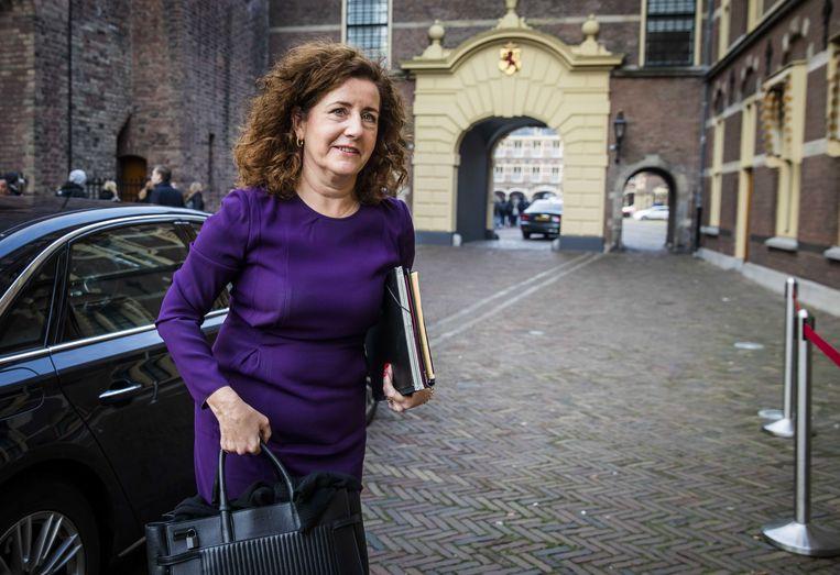 Minister Ingrid van Engelshoven van Onderwijs, Cultuur en Wetenschappen (D66) arriveert op het Binnenhof voor de wekelijkse ministerraad. Beeld ANP