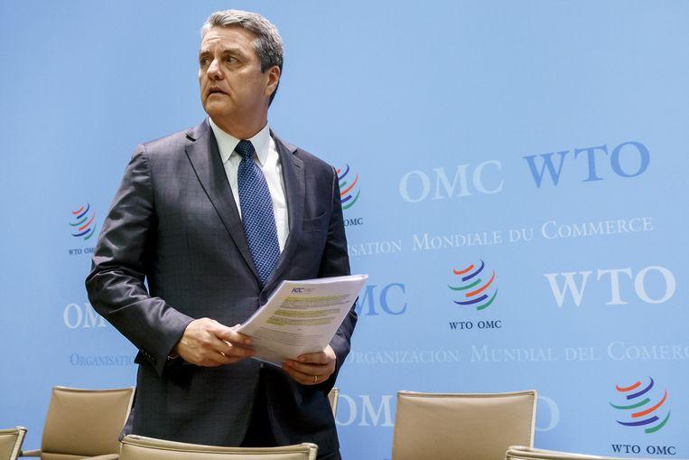 De Braziliaan Roberto Azevedo directeur van de wereldhandelsorganisatie (WTO). Beeld EPA