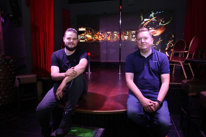 Corado Heldoorn, eigenaar van Club Rouge (l) en Jaap Visser (r) van het bedrijf ESL Benelux.