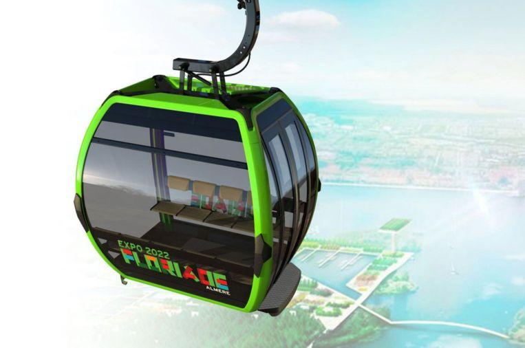 Hoe de kabelbaan boven de Floriade eruit moet gaan zien. Beeld Arcadis