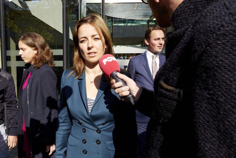 PvdD-fractievoorzitter Marianne Thieme staat de pers te woord na afloop van het besloten overleg tussen kabinet, coalitiepartijen en de oppositie over de rijksbegroting van volgend jaar Beeld anp
