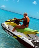Shanice van de Sanden op een jetski in Curacao