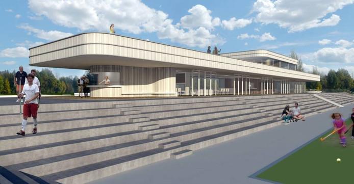 Het beoogde nieuwe gezamenlijke clubhuis voor de Eindhovense hockeyclubs Oranje Zwart en EMHC. impressie Diederendirrix Architecten