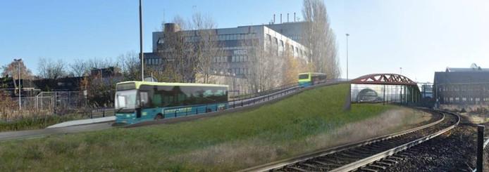 Een Hanzeboog in het klein om de bussen het spoor te laten oversteken. Illustratie Nieuwsbrief Spoorzone Zwolle.