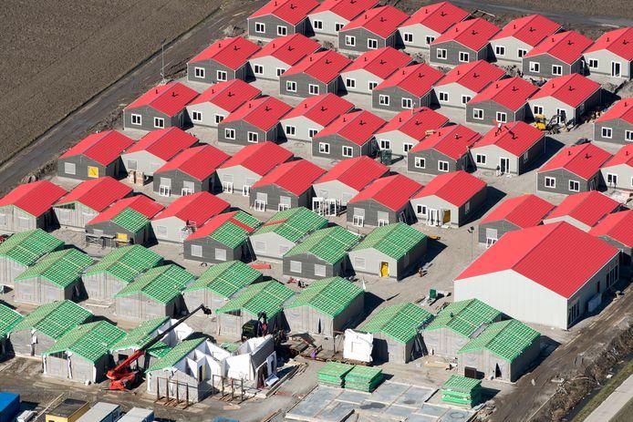 Een dorpje voor arbeidsmigranten bij Swifterbant in aanbouw, in 2017.