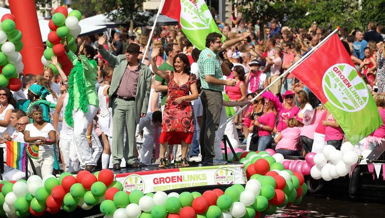 De GroenLinks-boot tijdens de Gay Pride in 2012. Beeld anp