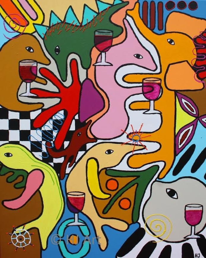 Hilde de Jong exposeert haar schilderijen met grafische vormen opgebouwd uit meerdere verflagen.