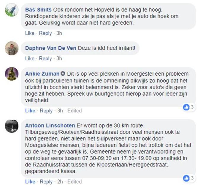 Reacties van Moergestelnaren.