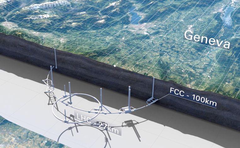 De tunnel voor de nieuwe versneller komt zo'n driehonderd meter onder de grond te liggen. Beeld Cern