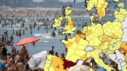 Vlaanderen kleurt donkeroranje op Europese kaart van coronabesmettingen