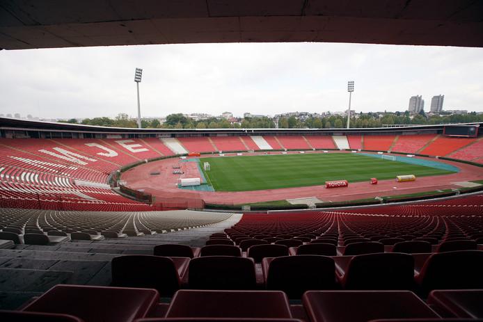 Het stadion van Rode Ster Belgrado.