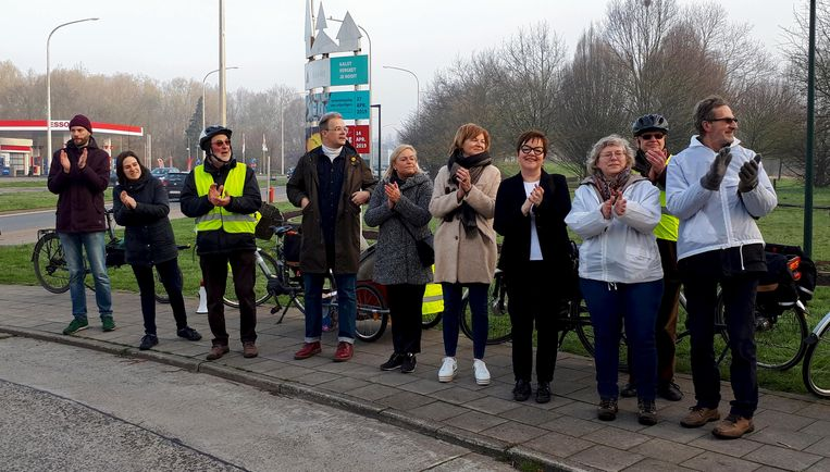 De Fietsersbond gaf applaus voor de fietsers die gebruik maken van de Leirekensroute.