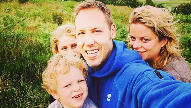 Kim Clijsters, echtgenoot Brian en de twee oudste kinderen.