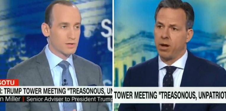 Stephen Miller (l.) tijdens het interview met Jake Tapper van CNN.