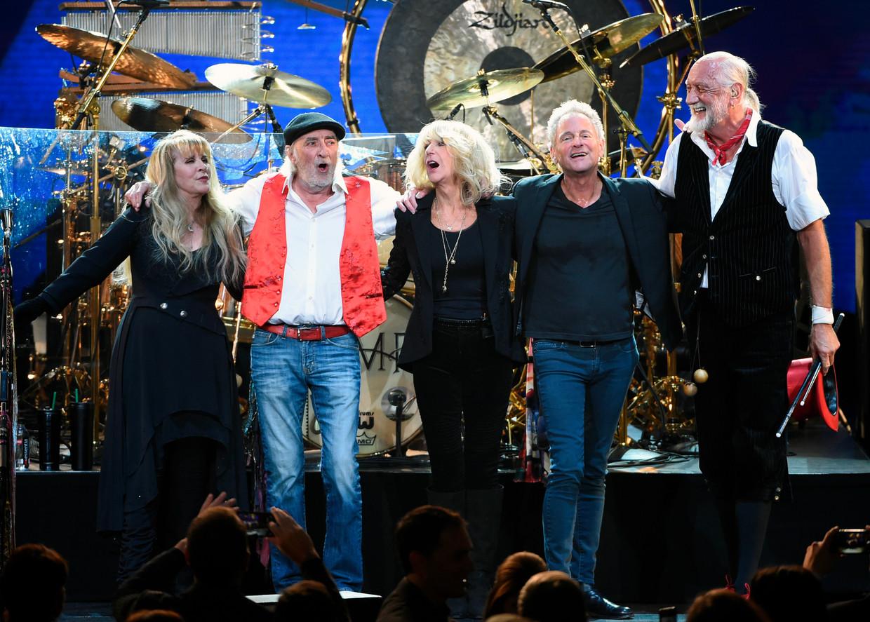 Stevie Nicks, John McVie, Christine McVie, Lindsey Buckingham en Mick Fleetwood in 2018.