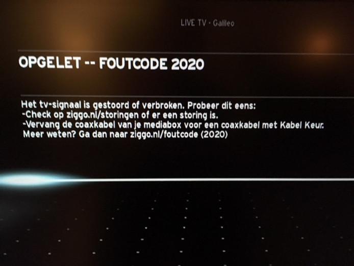 De storingsmelding van Ziggo op de televisie van Marcel Gidding in Nijmegen.