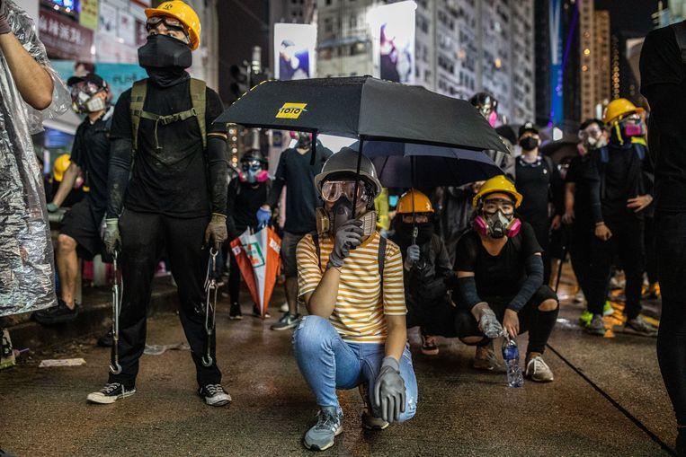 Betogers tijdens demonstraties van het afgelopen weekend in Hongkong.