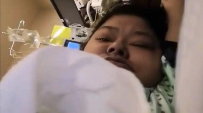 Joyce Echaquan vanuit haar ziekenhuisbed.