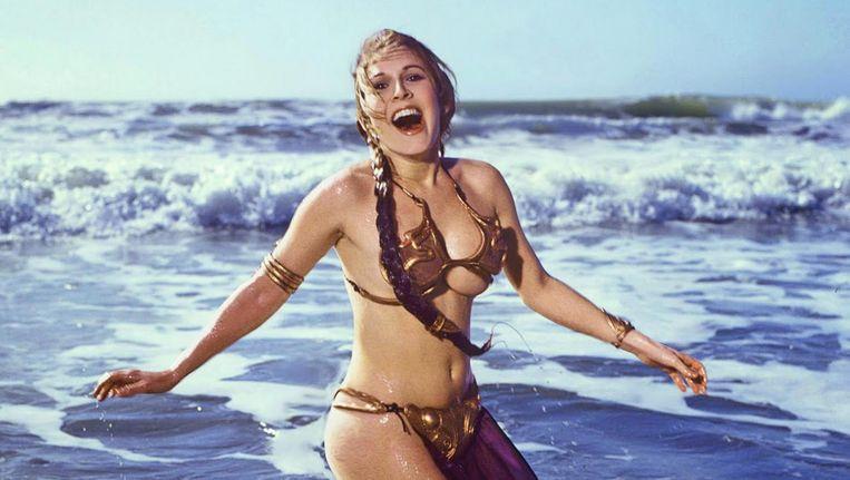 Carrie Fisher als prinses Leia op het strand, in 1987. Beeld Aaron Rapoport/Corbis