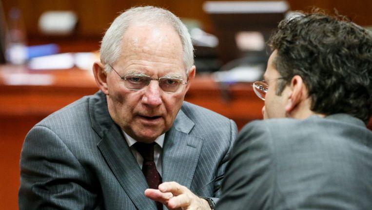 Wolfgang Schäuble (L) met Jeroen Dijsselbloem. Beeld epa